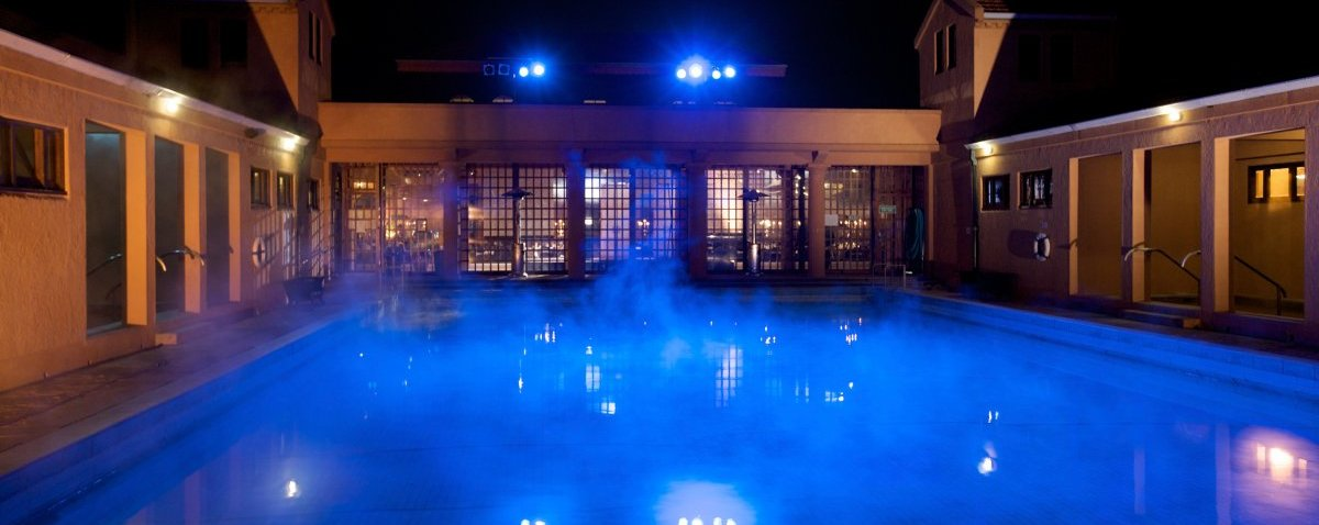 Soak in the ambience of these historic geothermally heated pools.